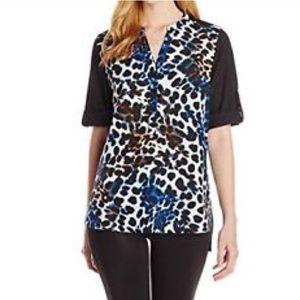 Calvin Klein leopard print tunic blouse S